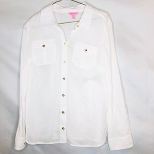 Lilly Pulitzer White Button Down Top Size 4